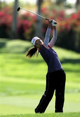 RANCHO MIRAGE, CA - APRIL 01:  Ai Miyazato of Japan hits her second shot on the 15th hole during the first round of the Kraft Nabisco Championship at Mission Hills Country Club on April 1, 2010 in Rancho Mirage, California.  (Photo by Stephen Dunn/Getty Images)