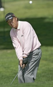 Isao Aoki in action during the first round of the Toshiba Classic, March 17, 2006, held at Newport Beach Country Club, Newport Beach, California. Photo by Gregory Shamus/WireImage.com