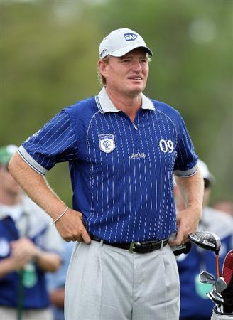 ORLANDO, FL - MARCH 17:  Ernie Els of South Africa and the Lake Nona Team waits to hit on the 18th hole during the second day of the 2009 Tavistock Cup at the Lake Nona Golf and Country Club, on March 17, 2009 in Orlando, Florida  (Photo by David Cannon/Getty Images)