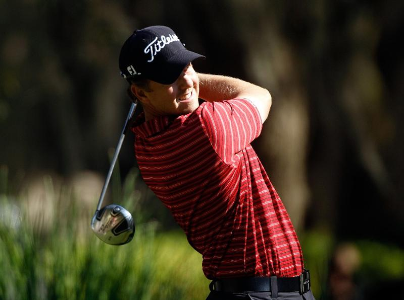 HILTON HEAD ISLAND, SC - APRIL 16:  Bryce Molder hits his tee shot on the second hole during the second round of the Verizon Heritage at the Harbour Town Golf Links on April 16, 2010 in Hilton Head lsland, South Carolina.  (Photo by Scott Halleran/Getty Images)