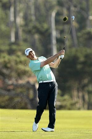 PEBBLE BEACH, CA - FEBRUARY 11:  Tom Gillis hits his second shot on the 15th hole during the second round of the AT&T Pebble Beach National Pro-Am at Monterey Peninsula Country Club on February 11, 2011 in Pebble Beach, California.  (Photo by Ezra Shaw/Getty Images)