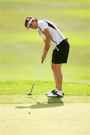 DANVILLE, CA - OCTOBER 16: Michele Redman putts during the third round of the CVS/Pharmacy LPGA Challenge at Blackhawk Country Club on October 16, 2010 in Danville, California. (Photo by Darren Carroll/Getty Images)