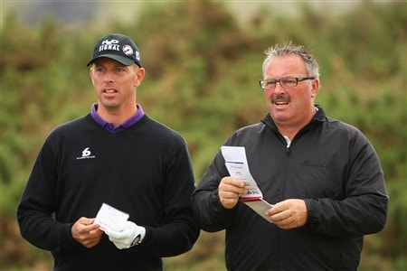 SOUTHPORT, UNITED KINGDOM - JULY 16:  Soren Hansen of Denmark chats with his coach Leif Nyholm on the 11th hole during the third practice round of the 137th Open Championship on July 16, 2008 at Royal Birkdale Golf Club, Southport, England.  (Photo by Andrew Redington/Getty Images)