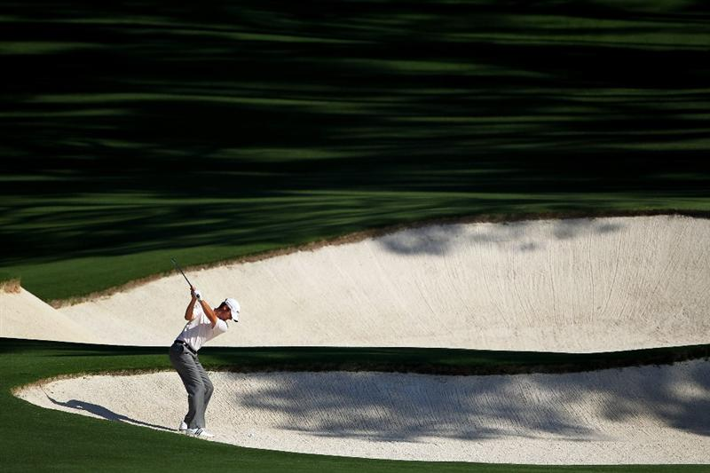 AUGUSTA, GA - APRIL 06:  Sean O'Hair plays a bunker shot during a practice round prior to the 2010 Masters Tournament at Augusta National Golf Club on April 6, 2010 in Augusta, Georgia.  (Photo by Jamie Squire/Getty Images)