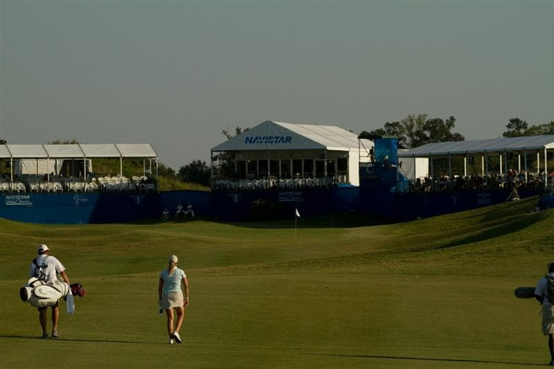 PRATTVILLE, AL - OCTOBER 9: Cristie Kerr walks down the 18th fairway during the third round of the Navistar LPGA Classic at the Senator Course at the Robert Trent Jones Golf Trail on October 9, 2010 in Prattville, Alabama. (Photo by Darren Carroll/Getty Images)