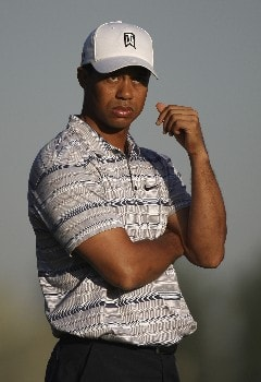 DUBAI, UNITED ARAB EMIRATES - JANUARY 30:  Tiger Woods of the USA stands on the 3rd fairway during the pro-am event prior to the Dubai Desert Classic on the Majlis Course held at the Emirates Golf Club on January 30, 2008 in Dubai,United Arab Emirates.  (Photo by Ross Kinnaird/Getty Images)