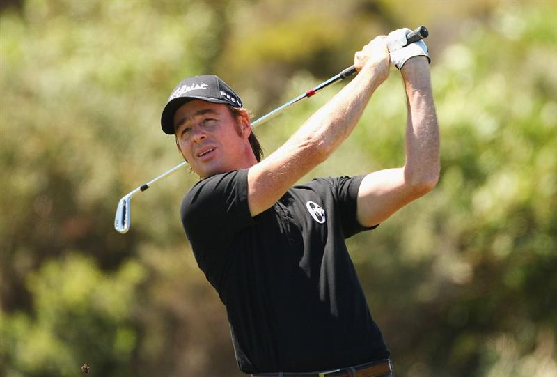 SYDNEY, AUSTRALIA - DECEMBER 02:  Brett Rumford of Australia plays a fairway shot during a practice round ahead of the 2009 Australian Open Golf Championship at New South Wales Golf Club on December 2, 2009 in Sydney, Australia.  (Photo by Cameron Spencer/Getty Images)