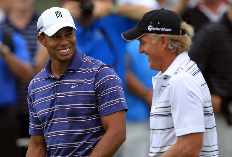 Tiger Woods and Greg Norman