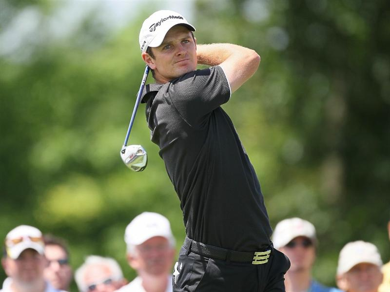 DUBLIN, OH - JUNE 06:  Justin Rose of England hits his tee shot on the first hole during the final round of The Memorial Tournament presented by Morgan Stanley at Muirfield Village Golf Club on June 6, 2010 in Dublin, Ohio.  (Photo by Andy Lyons/Getty Images)