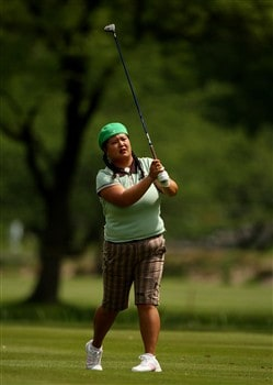 CLIFTON, NJ - MAY 15:  Christina Kim hits her second shot on the 11th hole during the first round of the Sybase Classic presented by ShopRite on May 15, 2008 at the Upper Montclair Country Club in Clifton, New Jersey.  (Photo by Travis Lindquist/Getty Images)