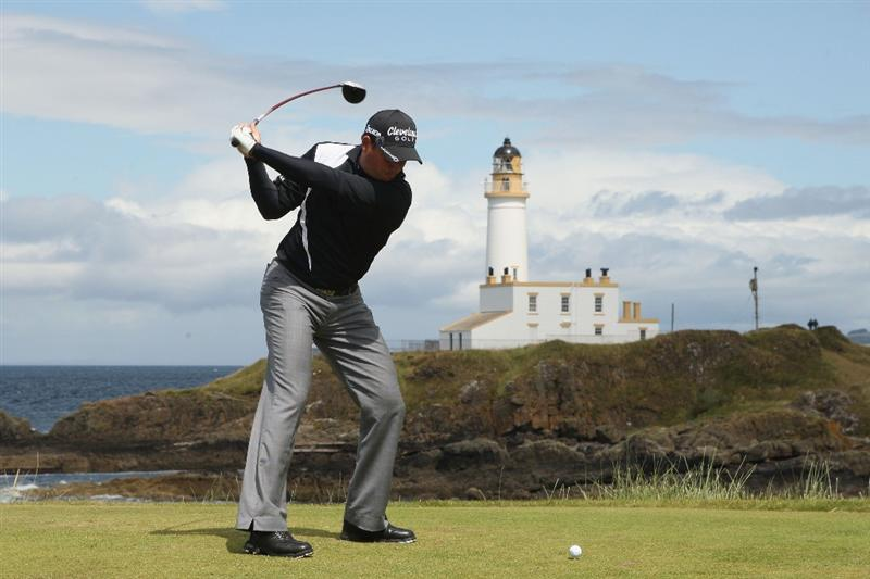 TURNBERRY, SCOTLAND - JULY 19:  David Howell of England hits his tee shot on the ninth hole during the final round of the 138th Open Championship on the Ailsa Course, Turnberry Golf Club on July 19, 2009 in Turnberry, Scotland.  (Photo by Warren Little/Getty Images)
