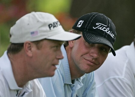 Lucas Glover waits on the 15th tee with Jeff Sluman in the third round of the Memorial Tournament at Muirfield Village Golf Club - Dublin, Ohio. Saturday, June 4, 2005Photo by Chris Condon/PGA TOUR/WireImage.com