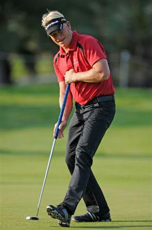 CASTELLON DE LA PLANA, SPAIN - OCTOBER 22:  Peter Hedblom of Sweden reacts to his putt on the nineth hole during the second round of the Castello Masters Costa Azahar at the Club de Campo del Mediterraneo on October 22, 2010 in Castellon de la Plana, Spain.  (Photo by Stuart Franklin/Getty Images)