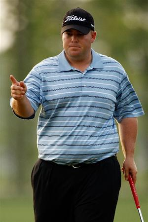 HUMBLE, TX - APRIL 04:  Colt Knost reacts after making a putt for birdie on the 6th hole during the third round of the Shell Houston Open at Redstone Golf Club April 4, 2009 in Humble, Texas.  (Photo by Chris Graythen/Getty Images)