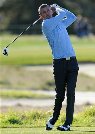 PEBBLE BEACH, CA - FEBRUARY 10:  Jesper Parnevik of Sweden plays a shot during the first round of the AT&T Pebble Beach National Pro-Am at Monterey Peninsula Country Club on February 10, 2011  in Pebble Beach, California.  (Photo by Stuart Franklin/Getty Images)