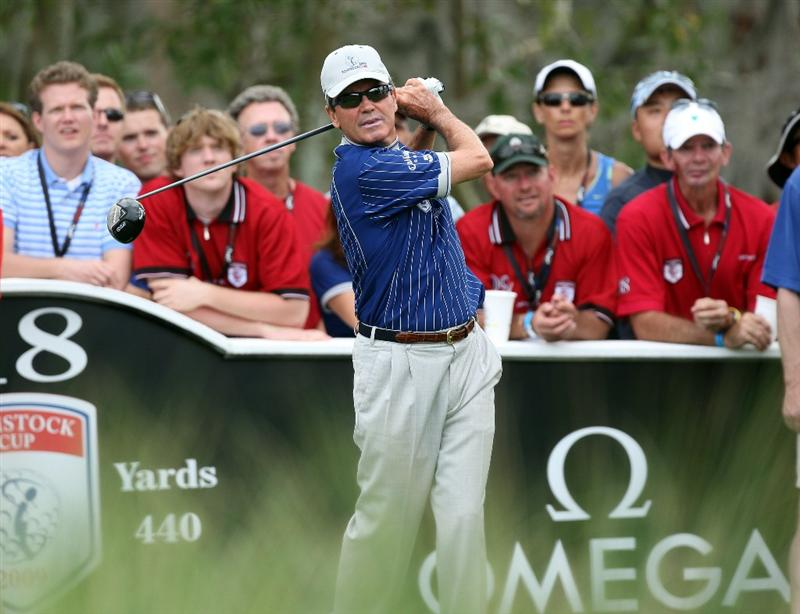 ORLANDO, FL - MARCH 17:  Mark McNulty of Ireland and the Lake Nona Team on the 18th hole during the second day of the 2009 Tavistock Cup at the Lake Nona Golf and Country Club, on March 17, 2009 in Orlando, Florida  (Photo by David Cannon/Getty Images)
