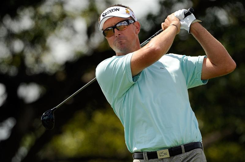 DORAL, FL - MARCH 14:  Robert Allenby of Australia hits during the third round of the World Golf Championships-CA Championship at the Doral Golf Resort & Spa on March 14, 2009 in Doral, Florida.  (Photo by Sam Greenwood/Getty Images)