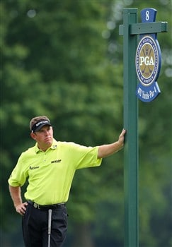 BLOOMFIELD HILLS, MI - AUGUST 05:  Lee Westwood of England leans on a hole marker during a practice round prior to the 90th PGA Championship at Oakland Hills Country Club on August 5, 2008 in Bloomfield Township, Michigan.  (Photo by Stuart Franklin/Getty Images)