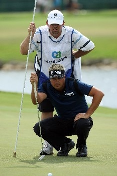 MIAMI - MARCH 20:  Daniel Chopra of Sweden lines up a putt at the eighth hole during the first round of the 2008 World Golf Championships CA Championship at the Doral Golf Resort & Spa, on March 20, 2008 in Miami, Florida.  (Photo by David Cannon/Getty Images)