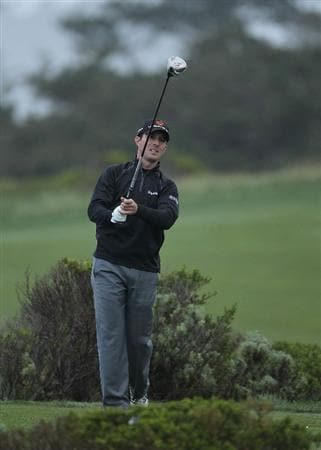 PEBBLE BEACH, CA - FEBRUARY 12:  Mike Weir of Canada tees off on the 10th hole during round two of the AT&T Pebble Beach National Pro-Am at the Monterey Peninsula Country Club Shore Course on February 12, 2010 in Pebble Beach, California.  (Photo by Ezra Shaw/Getty Images)
