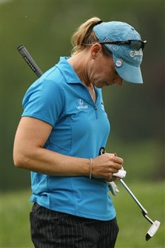 CLIFTON, NJ - MAY 15:  Annika Sorenstam of Sweden records her score during the first round of the Sybase Classic presented by ShopRite on May 15, 2008 at the Upper Montclair Country Club in Clifton, New Jersey.  (Photo by Travis Lindquist/Getty Images)