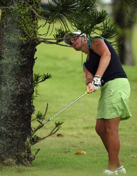 SINGAPORE - FEBRUARY 28:  Maria Hjorth of Sweden on thre par four 4 9th hole during the first round of the HSBC Women's Champions at the Tanah Merah Country Club on February 28, 2008 in Singapore.  (Photo by Ross Kinnaird/Getty Images)