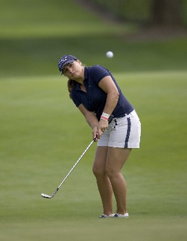 PORTLAND, OR - AUGUST 23: Kelli Kuehne hits her third shot at the par-5 seventh hole, during the second round of the LPGA Safeway Classic at the Columbia Edgewater Country Club on August 23, 2008 in Portland, Oregon. (Photo by Steven Gibbons/Getty Images)