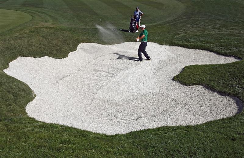 MARANA, AZ - FEBRUARY 27:  Paul Casey of England hits out of the bunker on the second hole during the third round of the Accenture Match Play Championships at the Ritz-Carlton Golf Club at Dove Mountain on February 27, 2009 in Marana, Arizona. (Photo by Donald Miralle/Getty Images)
