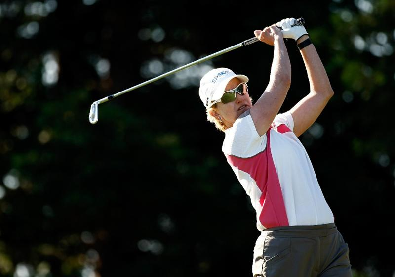 DANVILLE, CA - SEPTEMBER 24:  Karrie Webb tees off on the 12th hole during the first round of the CVS/pharmacy LPGA Challenge at Blackhawk Country Club on September 24, 2009 in Danville, California.  (Photo by Jonathan Ferrey/Getty Images)