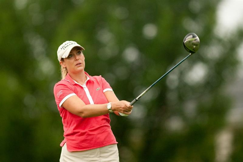 SPRINGFIELD, IL - JUNE 14: Cristie Kerr follows through on a tee shot during the continuation of the final round of the LPGA State Farm Classic at Panther Creek Country Club on June 14, 2010 in Springfield, Illinois. (Photo by Darren Carroll/Getty Images)
