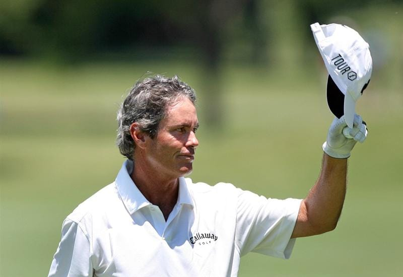 FT. WORTH, TX - MAY 28: Ian Baker-Finch waves to the crowd on the 9th hole during the first round of the Crowne Plaza Invitational at Colonial Country Club on May 28, 2009 in Ft. Worth, Texas. (Photo by Hunter Martin/Getty Images)