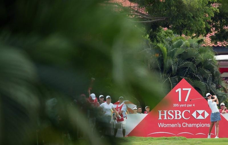 SINGAPORE - FEBRUARY 25:  Michelle Wie of the USA hits her tee shot on the 17th hole during the second round of the HSBC Women's Champions 2011 at the Tanah Merah Country Club on February 25, 2011 in Singapore, Singapore.  (Photo by Scott Halleran/Getty Images)