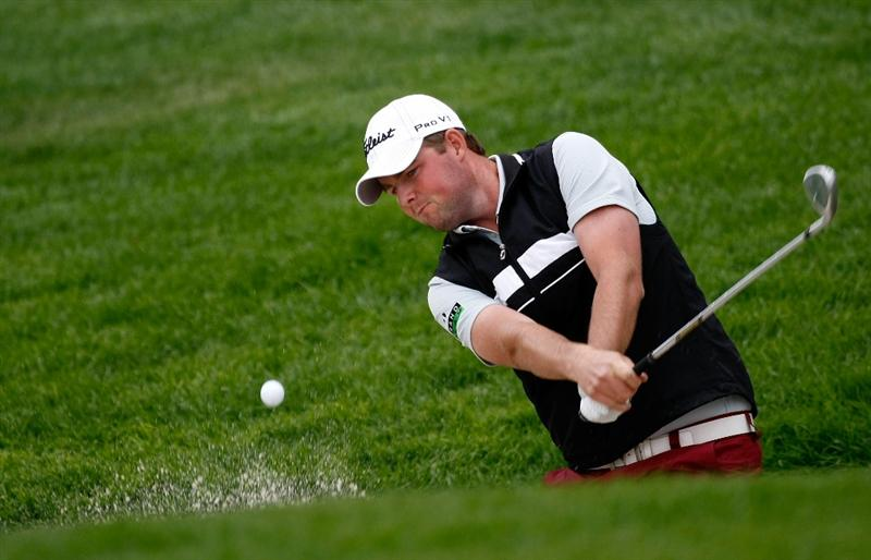 RENO, NV - AUGUST 07:  Marc Leishman hits out of the bunker on the 9th hole during the second round of the Legends Reno-Tahoe Open on August 7, 2009 at Montreux Golf and Country Club in Reno, Nevada.  (Photo by Jonathan Ferrey/Getty Images)