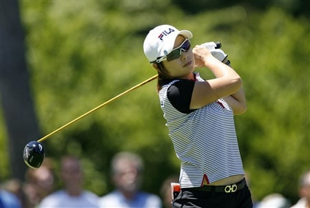 SYLVANIA, OH - JULY 13: Eun-Hee Ji of South Korea hits her tee shot on the 3rd hole during the final round of the Jamie Farr Owens Corning Classic at Highland Meadows Golf Club on July 13, 2008 in Sylvania, Ohio. (Photo by Hunter Martin/Getty Images)
