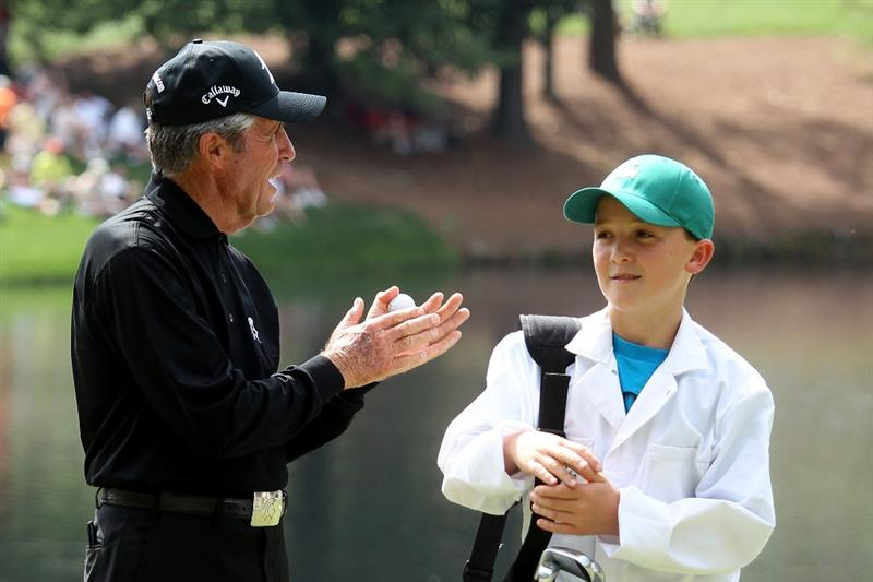AUGUSTA, GA - APRIL 07:  Gary Player of South Africa waits with his caddie during the Par 3 Contest prior to the 2010 Masters Tournament at Augusta National Golf Club on April 7, 2010 in Augusta, Georgia.  (Photo by Andrew Redington/Getty Images)
