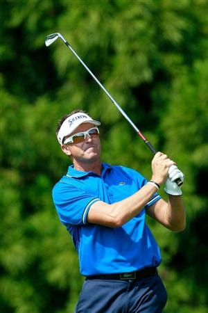 ATLANTA - SEPTEMBER 23:  Robert Allenby of Australia watches his tee shot on the second hole during the first round of THE TOUR Championship presented by Coca-Cola at East Lake Golf Club on September 23, 2010 in Atlanta, Georgia.  (Photo by Kevin C. Cox/Getty Images)