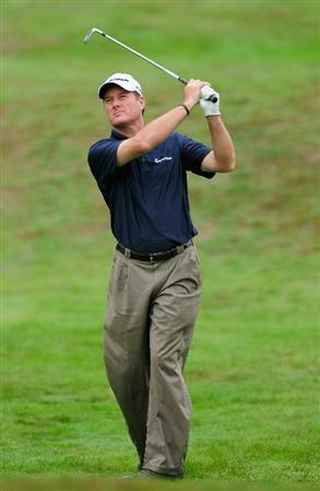 HILVERSUM, NETHERLANDS - SEPTEMBER 10:  Todd Hamilton of USA plays his approach shot on the17th hole during the second round of  The KLM Open Golf at The Hillversumsche Golf Club on September 10, 2010 in Hilversum, Netherlands.  (Photo by Stuart Franklin/Getty Images)