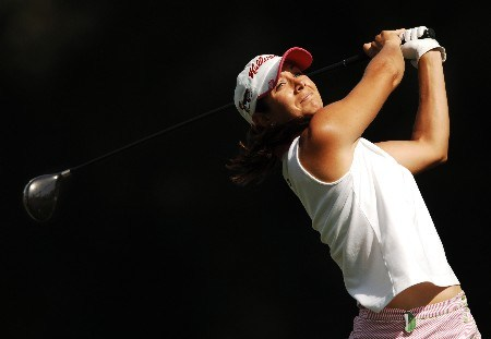 Laura Diaz hits from the second tee during the final round of the LPGA's 2005 Kraft Nabisco Championship, at Mission Hills Country Club in Rancho Mirage, California March 27, 2005.