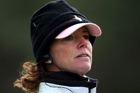 HALMSTAD, SWEDEN - SEPTEMBER 15:  European Team Captain Helen Alfredsson looks on during the morning foursome matches of the 2007 Solheim Cup the Halmstad Golf Club September 15, 2007 in Halmstad, Sweden.  (Photo by Andy Lyons/Getty Images)