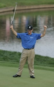 Rod Pampling wins the Bay Hill Invitational presented by MasterCard at the Bay Hill Club in Orlando, Florida on March 19, 2006. He made par on the final hole to win by a stroke.Photo by Michael Cohen/WireImage.com