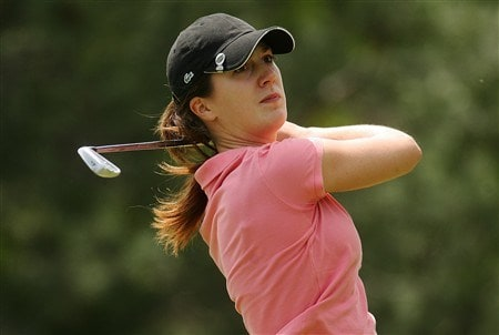 CORNING, NY - MAY 24:  Sandra Gal of Germany hits her tee shot on the fourth hole during the third round of the LPGA Corning Classic at Corning Country Club on May 24, 2008 in Corning, New York.  (Photo by Kyle Auclair/Getty Images)