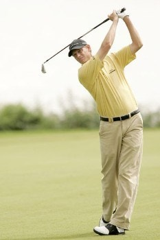 Maarten Lafeber watches his approach shot during the third round of the 2005 Barclays Scottish Open at the Loch Lomond Golf Club in Glasgow, Scotland on July 9, 2005.Photo by Pete Fontaine/WireImage.com