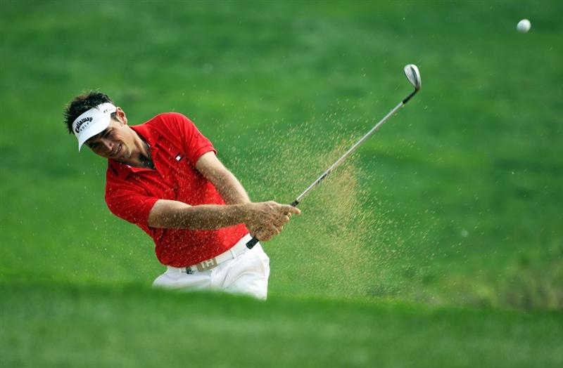 BEIJING - APRIL 17:  Nick Dougherty of England plays out of the bunker during the round two of the Volvo China Open at the Beijing CBD International Golf Club on April 17, 2009 in Beijing, China.  (Photo by Guang Niu/Getty Images)