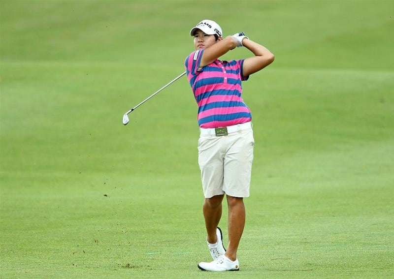 SINGAPORE - FEBRUARY 25:  Yani Tseng of Taiwan hits her second shot on the 1st hole during the first round of the HSBC Women's Champions at Tanah Merah Country Club on February 25, 2010 in Singapore, Singapore.  (Photo by Andy Lyons/Getty Images)