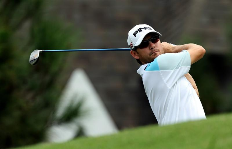 KUALA LUMPUR, MALAYSIA - OCTOBER 30: Heath Slocum of USA watches his tee shot on the 9th hole during day three of the CIMB Asia Pacific Classic at The MINES Resort & Golf Club on October 30, 2010 in Kuala Lumpur, Malaysia. (Photo by Stanley Chou/Getty Images)