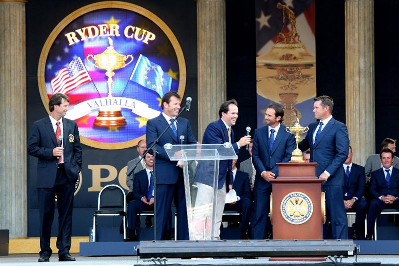 LOUISVILLE, KY - SEPTEMBER 18: (L-R) Paul Azinger, captain of the USA team, Nick Faldo, captain of the European team, Dan Hicks of NBC Sports speaks with Sergio Garcia and Lee Westwood during the opening ceremony during the 2008 Ryder Cup at Valhalla Golf Club on September 18, 2008 in Louisville, Kentucky.  (Photo by David Cannon/Getty Images)