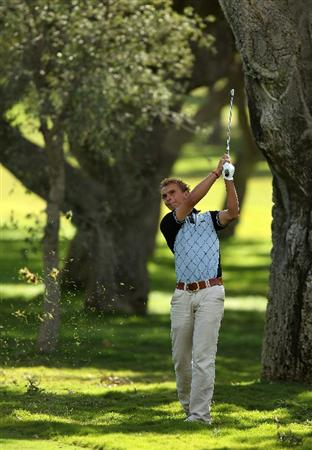 SOTOGRANDE, SPAIN - OCTOBER 31:  Joost Luiten of The Netherlands plays into the 1st green during the final round of the Andalucia Valderrama Masters at Club de Golf Valderrama on October 31, 2010 in Sotogrande, Spain.  (Photo by Richard Heathcote/Getty Images)