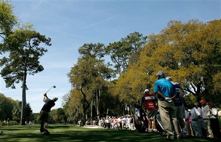 HILTON HEAD, SC - APRIL 18:  Lucas Glover hits a tee shot on the 3rd hole during the second round of the Verizon Heritage at Harbour Town Golf Links on April 18, 2008 in Hilton Head, South Carolina.  (Photo by Streeter Lecka/Getty Images)