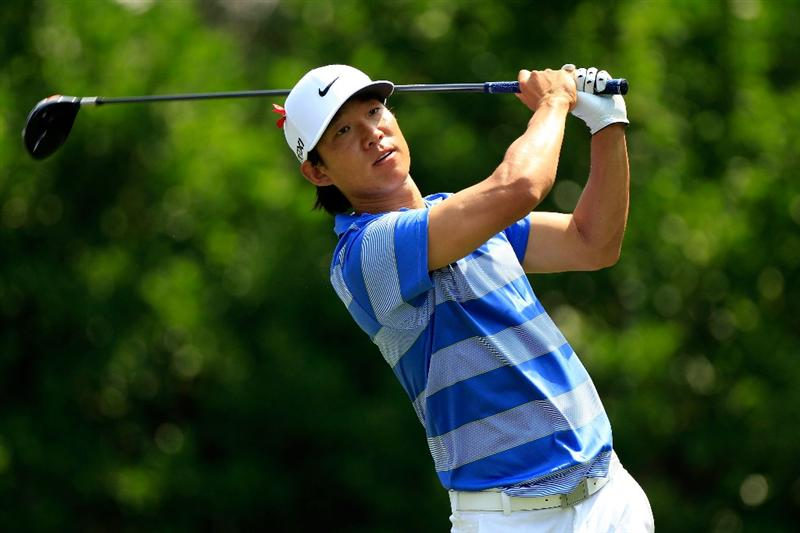 PONTE VEDRA BEACH, FL - MAY 13:  Anthony Kim hits his tee shot on the 11th hole during the second round of THE PLAYERS Championship held at THE PLAYERS Stadium course at TPC Sawgrass on May 13, 2011 in Ponte Vedra Beach, Florida.  (Photo by Sam Greenwood/Getty Images)
