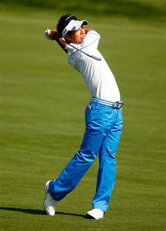 CHASKA, MN - AUGUST 10:  Ryo Ishikawa of Japan hits a shot during a practice round prior to the start of the 91st PGA Championship at the Hazeltine Golf Club on August 10, 2009 in Chaska, Minnesota.  (Photo by Scott Halleran/Getty Images)